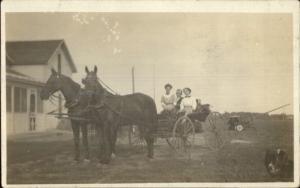 Horse Drawn Wagon & Home Farming Impement c1910 Real Photo Postcard AZO