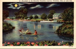 Ohio Vermillion Moonlight On Lake Erie 1956 Curteich