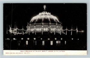 Salt Lake City UT-Utah, Salt Palace Illuminated, Night View, Vintage Postcard