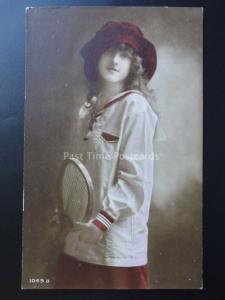 Young Girl Dressed for Tennis holding her Racquet c1905 - Old RP Postcard