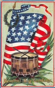 F45/ Patriotic Postcard c1910 Memorial Day Drum American Flag 13
