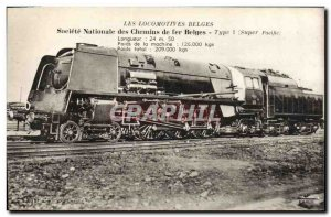 Postcard Old Train Locomotive Belgian Type 1 Super Pacific