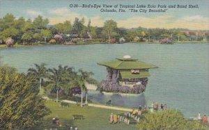 Florida Orlando Birds Eye View Lake Eola &  Bandshell 1947