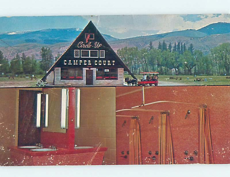 Surface Wear Pre-1980 CIRCLEUP CAMPER COURT CAMPGROUND Dubois Wyoming WY c3805