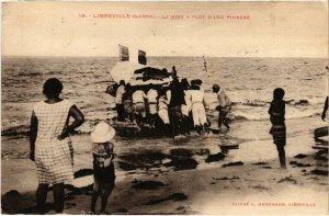 PC CPA GABON, LIBREVILLE, LA MISE A FLOT, Vintage Postcard (b21747)