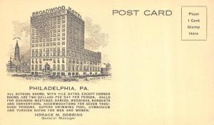 PHILADELPHIA, PA Pennsylvania    BROADWOOD HOTEL     Blank Back Card