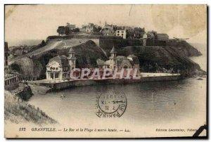 Postcard Old Granvile Roc and Plage Maree Haute