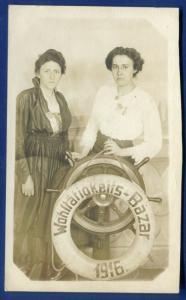 Wohltätigkeits Bazar Charity Bazar 1916 studio pose ship helm real photo RPPC