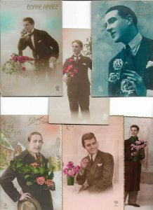 Victorian Style - RPPC Men Postcard Lot of 17 01.12