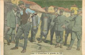 Italian army history soldiers carrying grenades vintage newspaper scrap