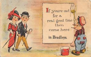 Come Here to Bradley Michigan~For A Real Good Time~Fashion Couple~Painter~1916