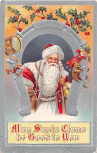 E46/ Santa Claus Merry Christmas Holiday Postcard c1910 Silver Horseshoe Toys 4