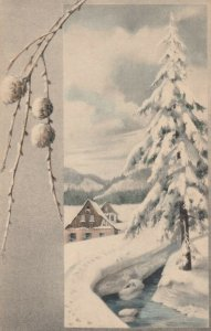 M.M..VIENNE Nr. 395: PU-1910 , Winter scene , M. MUNK