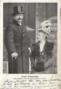 German Emperor Kaiser Wilhelm~Augusta Victoria~Feather Hat~London 1899~Postcard
