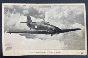 Mint England RPPC Postcard RAF Hawker Hurricane Airplane Single Seater