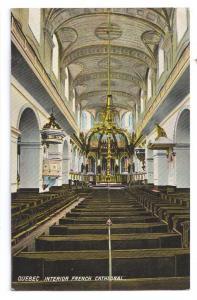 Quebec Canada Postcard Interior French Cathedral Vintage