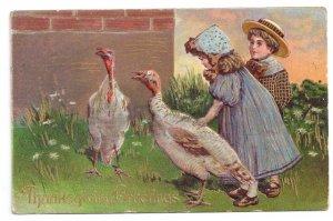 Vintage Thanksgiving Postcard Children Girl Boy with Turkeys Embossed Gilded
