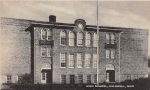 B74/ Caldwell Ohio Postcard Noble County c1940s High School Building