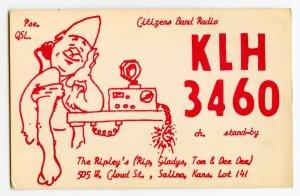 Nice Used QSL Radio Card From Salina Kansas KLH 3460