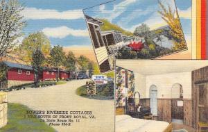 Front Royal Virginia~Bower's Riverside Cottages~1940s Linen Postcard