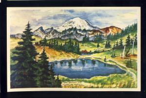 Lake Tipsoo & Mt Rainier, Washington/WA Postcard, Ted Lewy Painting