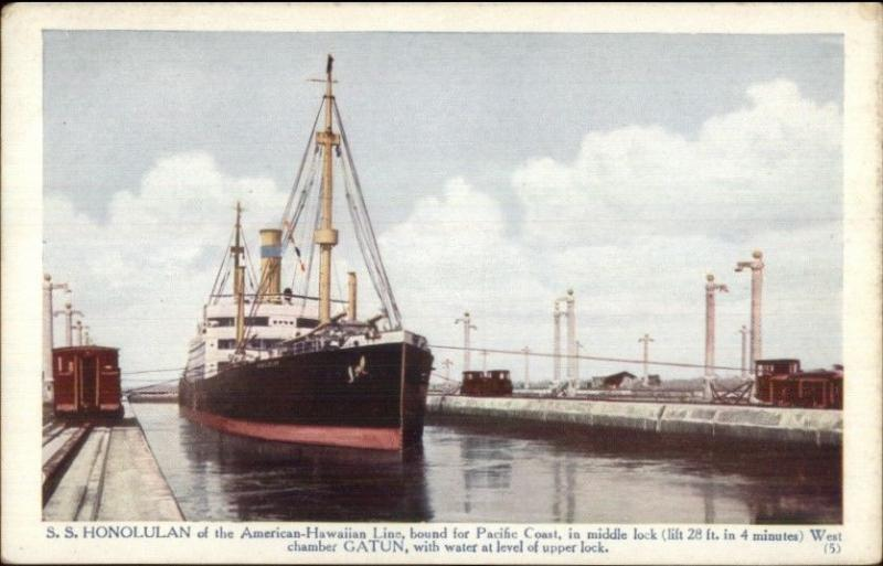 Panama Canal Steamship SS Honolulan American-Hawaiian Line c1920 PC #2