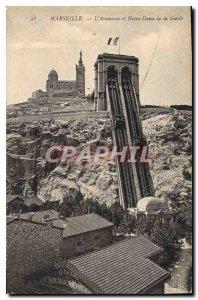 Postcard Old Elevator Marseille and Notre Dame de la Garde