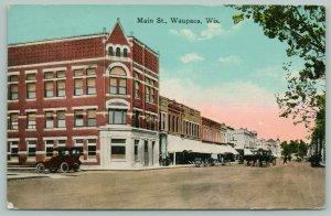 Waupaca Wisconsin~Main Street Businesses~Horse Buggies~Vintage Car~1916 Postcard