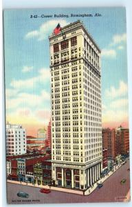 Comer Building Birmingham Alabama Vintage Linen Postcard C56