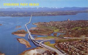 Seattle to Bellevue & Kirkland WA Evergreen Point Floating Bridge 1960s Postcard