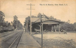Glen Head L. I. Railroad Station Train Depot Horse & Buggie Postcard