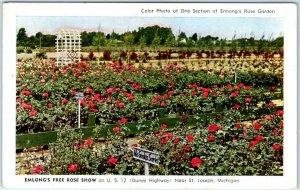 St. Joseph, Michigan Postcard MELON'S FREE ROSE SHOW Garden c1950s Unused