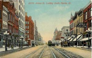 Adams Street, Looking South, Peoria, IL, Illinois, 1913 Divided Back ,