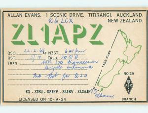 1965 vintage QSL CB HAM RADIO CARD Titirangi - Auckland NEW ZEALAND s0372