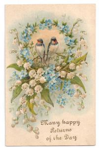 Lily of Valley Bluebirds Embossed Birthday Postcard 1908