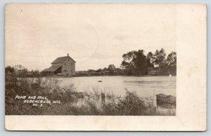 Ogdenburg Wisconsin~Pond & Mill~Lean-To Barn~White Horse Team~Bridge~1907 RPPC