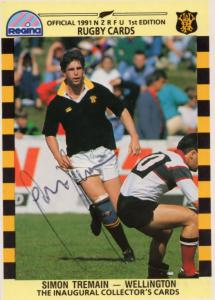 Simon Tremain Wellington Team Rugby 1991 Hand Signed Card Photo