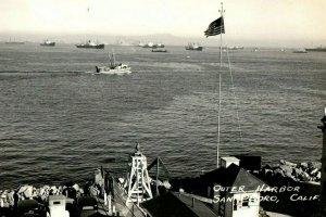 C. 1930's RPPC Ships Outer Harbor Cars San Pedro California Postcard P129