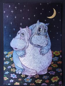 CUDDLING HIPPOPOTAMUS MOONLIGHT c1980's by F J Warren DUFEX FOIL Postcard 501939