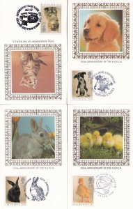 Benham Silk Anniversary Of The RSPCA Cat Dog 4x First Day Cover s