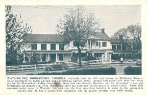 Middletown Virginia Wayside Inn Street View Antique Postcard K92797
