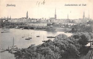 Hamburg Lombardsbruecke mit Stadt Boats River Bridge General view