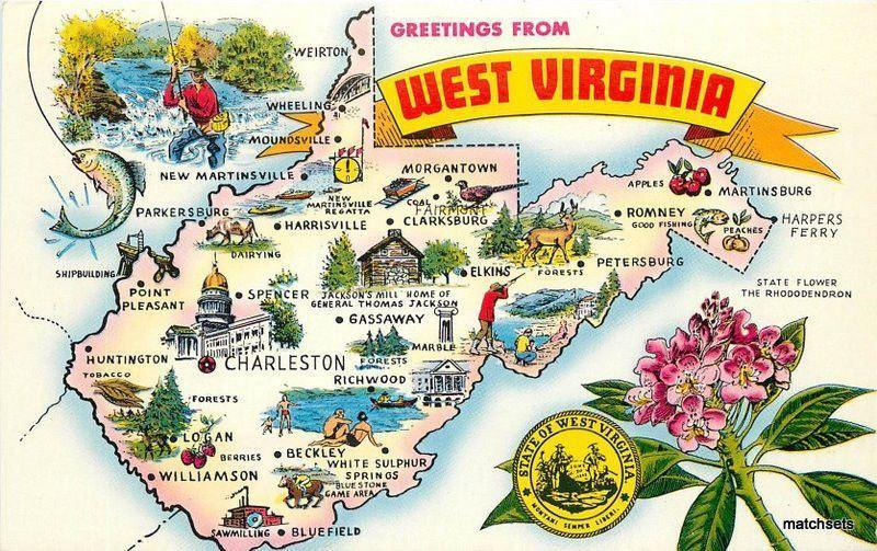1960s Large Letters Map Attractions WEST VIRGINIA Postcard 1726