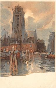 Netherlands Dordrecht chromo signed Postcard
