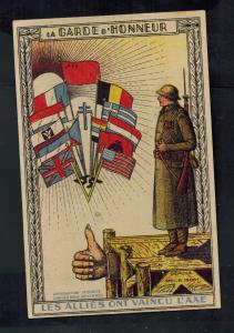 1945 Mint WW2 Belgium Postcard The Guard of Honor Allies Against Germany