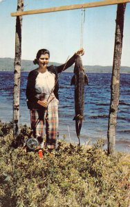 Maniwaki Que. Canada Baskatong Lake woman with fish vintage pc ZD549957