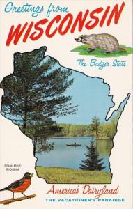 Greetings From Wisconsin With Map
