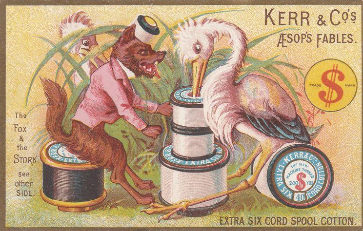 Victorian Trade Card - Fox and Stork - Kerr's Spooled Cotton Cord