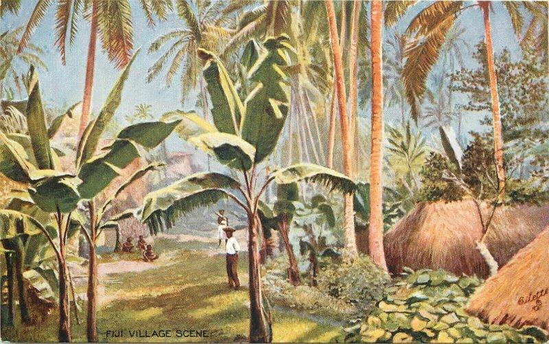FIJI Islands village scene poscard