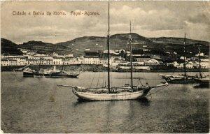 PC CPA AZORES / PORTUGAL, CIDADE E BAHIA DE HORTA, Vintage Postcard (b21672)